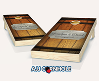 """Barrel Plaque Wine Wedding"" Cornhole Set"
