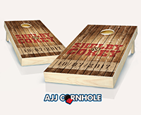 """Country Rustic Name & Date Wedding"" Cornhole Set"