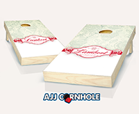 """Wedding Ribbon Blue"" Cornhole Set"