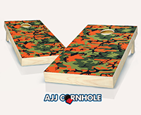 """Orange Camo"" Cornhole Set"