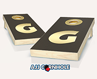 """Monogram Dark Gold Bling"" Cornhole Set"