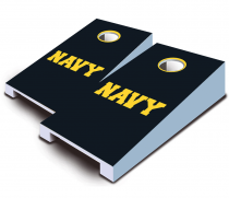 """Navy Text"" Tabletop Cornhole Set"
