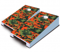 """Orange Camo"" Tabletop Cornhole Set"