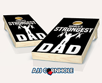 """World's Strongest Dad"" Cornhole Set"