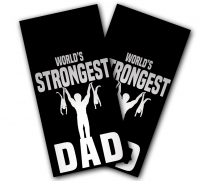 """World's Strongest Dad"" Cornhole Wrap"