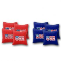 """USA Flag in Text"" Cornhole Bags - Set of 8"