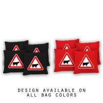 """Caution Bull"" Cornhole Bags - Set of 8"