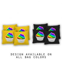 """Rainbow Cupcake"" Cornhole Bags - Set of 8"
