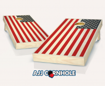 """2 Color American Flag"" Stained Cornhole Set"