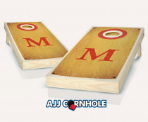 """Bakersville Red Monogram"" Maple Stained Cornhole Set"