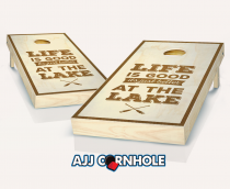 """Life is Better at the Lake"" Stained Cornhole Set"