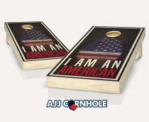 """I Am An American"" Ebony Stained Cornhole Set"