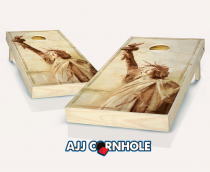 """Lady Liberty"" Stained Cornhole Set"