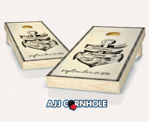 """Nautical Love Wedding"" Stained Cornhole Set"