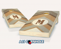 """Warm Chevron Monogram"" Stained Cornhole Set"