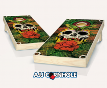 """Skull Attire"" Stained Cornhole Set"