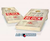 """Chip Off the Old Block"" Stained Cornhole Set"