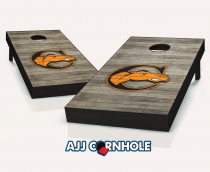 """Campbell Fighting Camels"" Distressed Cornhole Set"