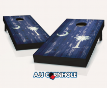 """South Carolina Flag"" Distressed Cornhole Set"