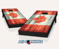 """Canadian Flag"" Distressed Cornhole Set"