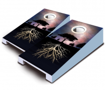 """Nocturnal Roots"" Tabletop Cornhole Set"