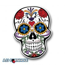 Floral Skull Cornhole Decal