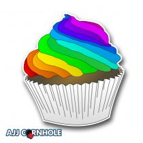 Rainbow Cupcake Cornhole Decal