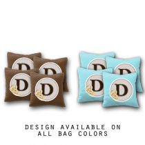 """Custom Badge Wedding Monogram"" Cornhole Bags - Set of 8"