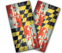 """Maryland Flag"" Distressed Cornhole Wrap"